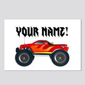 Red Monster Truck Personalized Postcards (Package