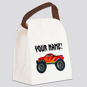 Red Monster Truck Personalized Canvas Lunch Bag