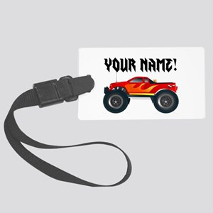 Red Monster Truck Personalized Large Luggage Tag