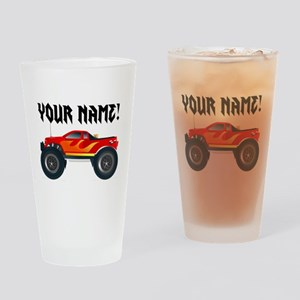 Red Monster Truck Personalized Drinking Glass