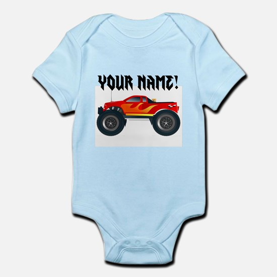 Red Monster Truck Personalized Infant Bodysuit