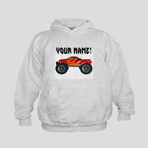 Red Monster Truck Personalized Kids Hoodie