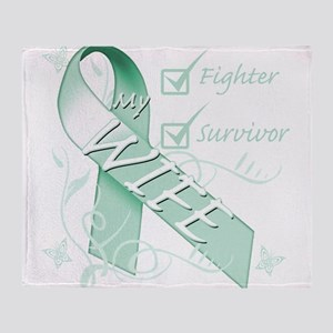 Wife is a Fighter and Survivor Throw Blanket