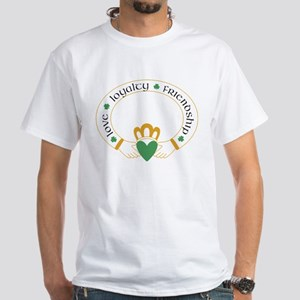Claddagh Ring -- White T-Shirt