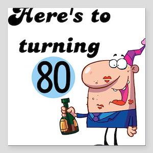 "80th Birthday Square Car Magnet 3"" x 3"""