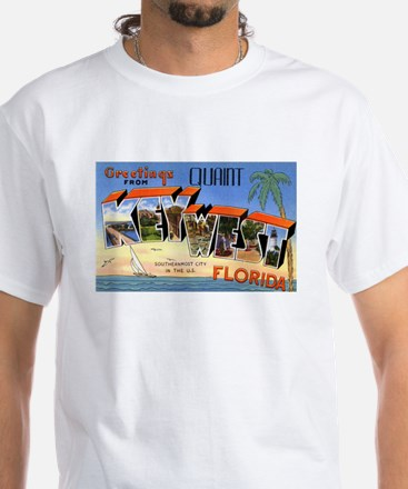 Key West Florida Greetings (Front) White T-Shirt