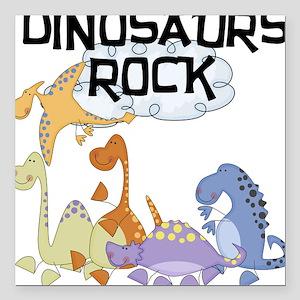 "dinosaursrockk Square Car Magnet 3"" x 3"""