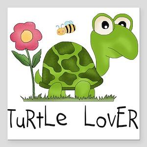 """turtleloverr Square Car Magnet 3"""" x 3"""""""