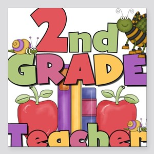 "BASICTEACHERAPPLES2nd Square Car Magnet 3"" x 3"