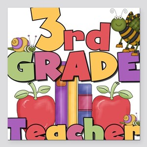 "BASICTEACHERAPPLES3rd Square Car Magnet 3"" x 3"