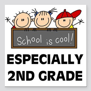 "SCHOOLCOOL2ND Square Car Magnet 3"" x 3"""