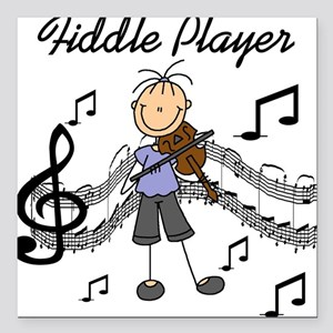 "fiddleplayerTEE.png Square Car Magnet 3"" x 3"""