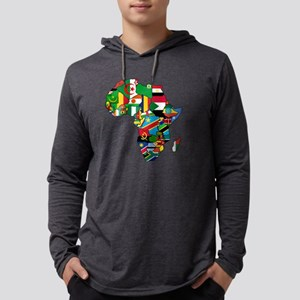 Flag Map of Africa Mens Hooded Shirt