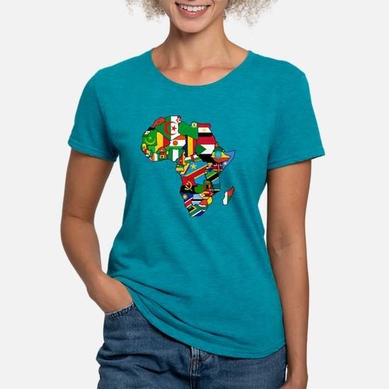 Flag Map of Africa Womens Tri-blend T-Shirt