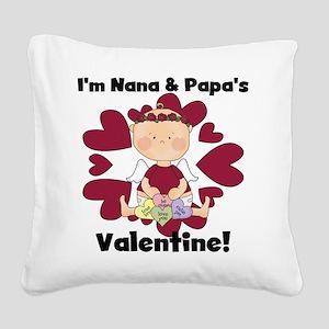 Girl Nana Papa's Valentine Square Canvas Pillow