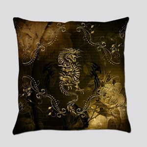 Wonderful golden chinese dragon Everyday Pillow
