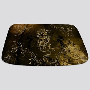 Wonderful golden chinese dragon Bathmat