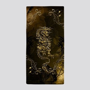 Wonderful golden chinese dragon Beach Towel