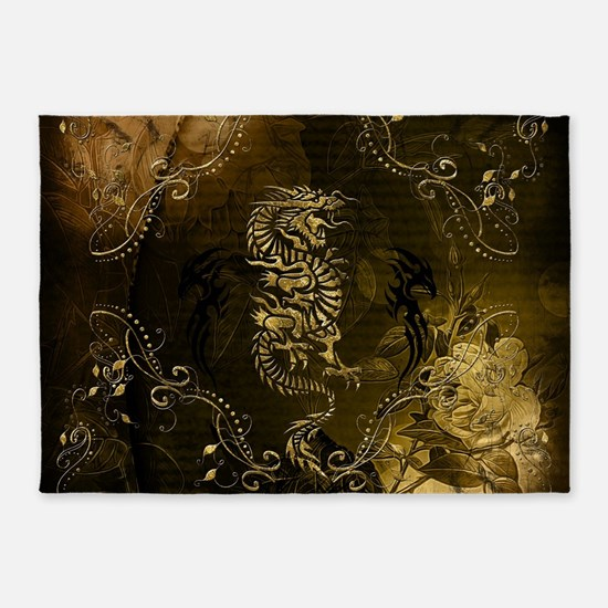 Wonderful golden chinese dragon 5'x7'Area Rug