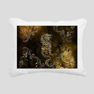Wonderful golden chinese dragon Rectangular Canvas