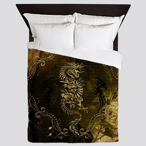 Wonderful golden chinese dragon Queen Duvet