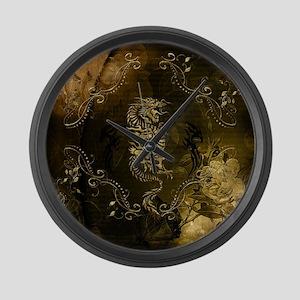 Wonderful golden chinese dragon Large Wall Clock