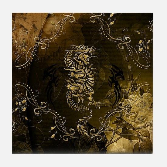Wonderful golden chinese dragon Tile Coaster