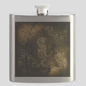 Wonderful golden chinese dragon Flask
