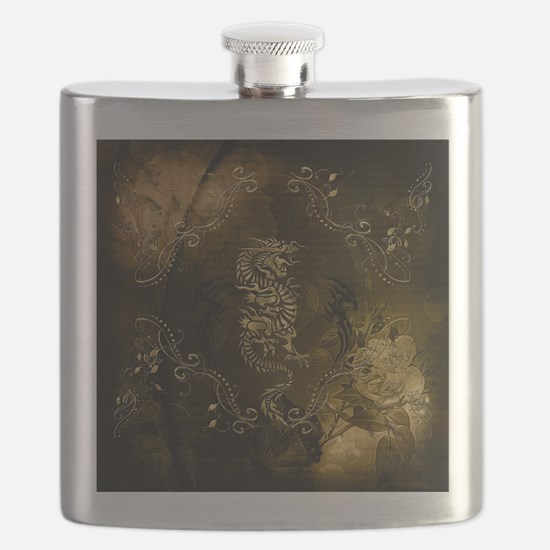 Wonderful golden chinese dragon Flask
