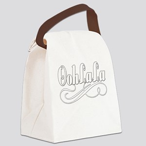 BLUEoohlalawhite Canvas Lunch Bag