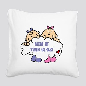 MOMTWINGIRLSTEE Square Canvas Pillow