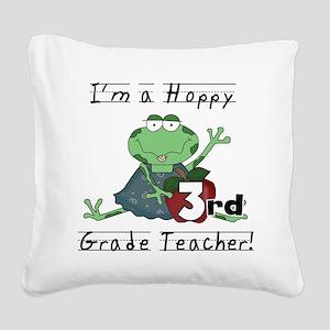 Hoppy 3rd Grade Teacher Square Canvas Pillow