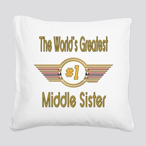 GREENMiddlesister Square Canvas Pillow