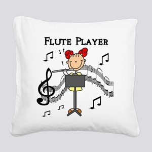 fluteplayertee Square Canvas Pillow