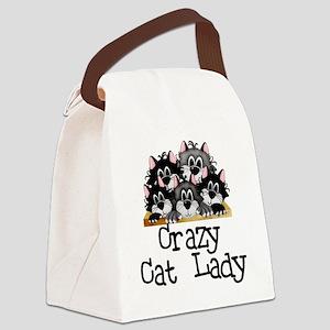crazycatlady Canvas Lunch Bag