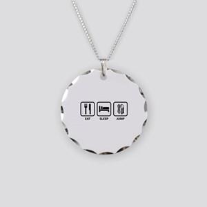 Eat Sleep Jump Necklace Circle Charm