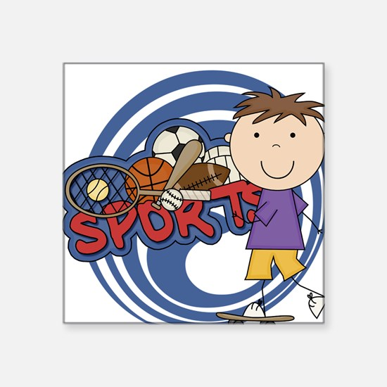 "SPORTSSFOUR.png Square Sticker 3"" x 3"""