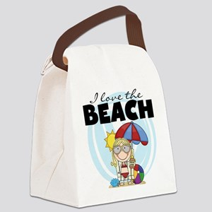 123GIRLLOVEBEACH Canvas Lunch Bag
