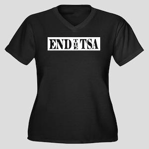 END THE TSA Women's Plus Size V-Neck Dark T-Shirt
