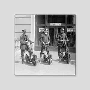 "Vintage Postmen On Scooters Square Sticker 3"" x 3"""