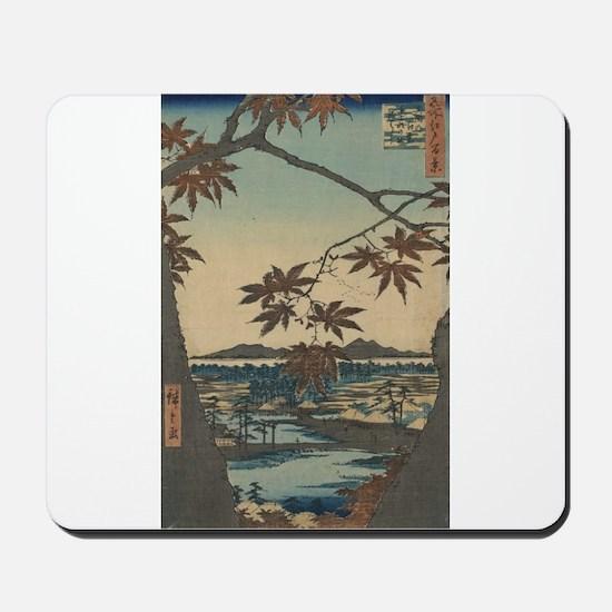 Maple trees at Mama - Hiroshige Ando - 1857 Mousep