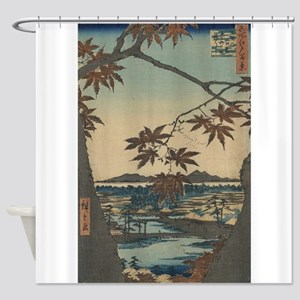 Maple trees at Mama - Hiroshige Ando - 1857 Shower