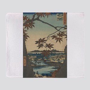 Maple trees at Mama - Hiroshige Ando - 1857 Throw