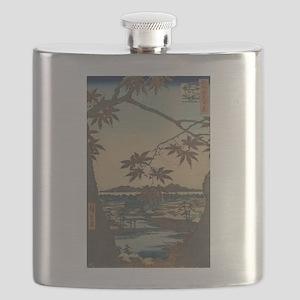 Maple trees at Mama - Hiroshige Ando - 1857 Flask