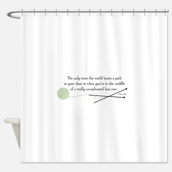 """World Beats a Path"" Shower Curtain"