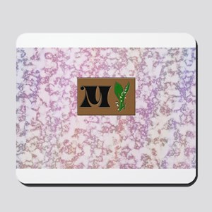 monogram M with lily of the valley Mousepad