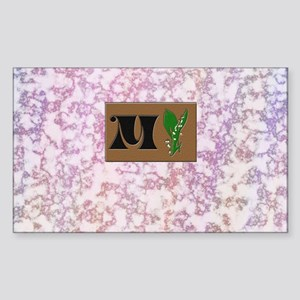 monogram M with lily of the valley Sticker (Rectan