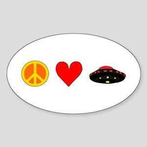Peace Love UFO Sticker (Oval)