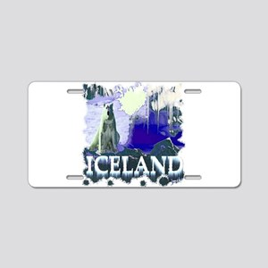 iceland art illustration Aluminum License Plate