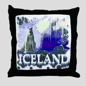iceland art illustration Throw Pillow